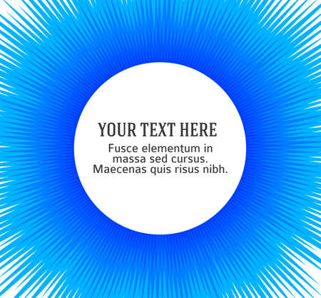 Advertisement flyer design elements. Blue background with elegant graphic sun flower bright light rays from the center Vecteurs