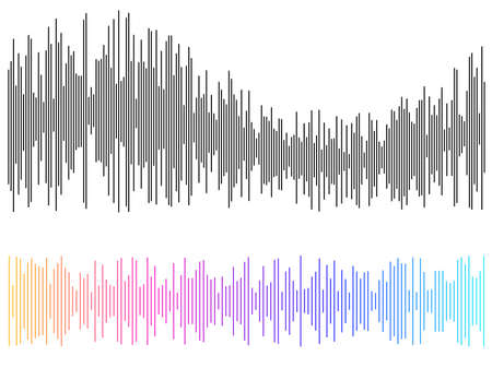 Color equalizer isolated on white background. Vector illustration. Pulse music player. Audio wave logo