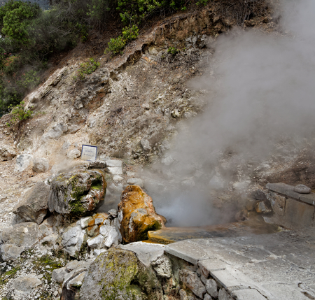 fissures: Geothermal hot water in Furnas on the island of Sao Miguel
