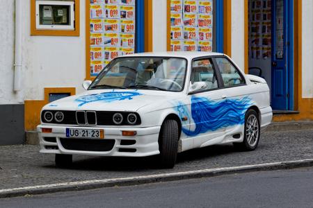 Furnas, Portugal - May 9: Retro car on May 9, 2014 in Furnas