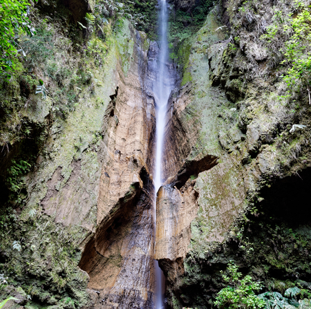 portugal agriculture: Beautiful waterfall on the island of Sao Miguel