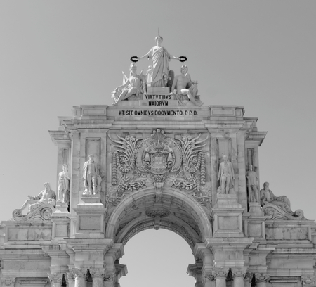 made in portugal: Lisbon, Portugal - May 14: The Rua Augusta Arch in Lisbon on May 14, 2014. Here are the sculptures made of Celestin Anatole Calmels and Victor Bastos. Portugal, Europe. Editorial