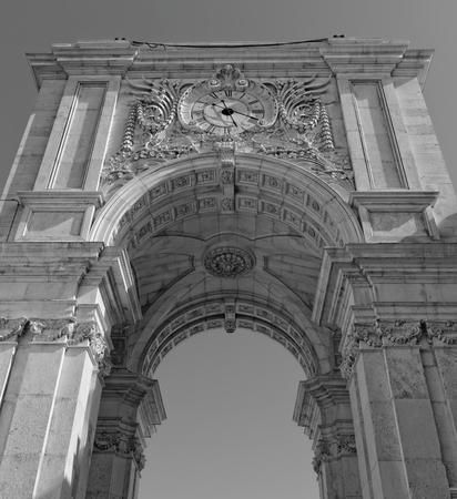 augusta: Lisbon, Portugal - May 14: Rua Augusta Arch in Lisbon on May 14, 2014. The reverse side Rua Augusta Arch in Lisbon. Portugal, Europe. Editorial