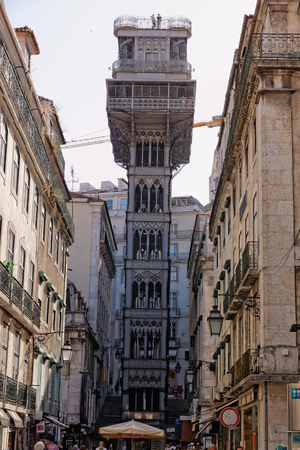 Lisbon, Portugal - May 14: The Santa Justa Lift in Lisbon on May 14, 2014. Elevador di Santa Justa - an elevator lift in Lisbon, acts to assist pedestrians in overcoming the steep slope since 1902, tying the Rua do Ouro with an area of Largo