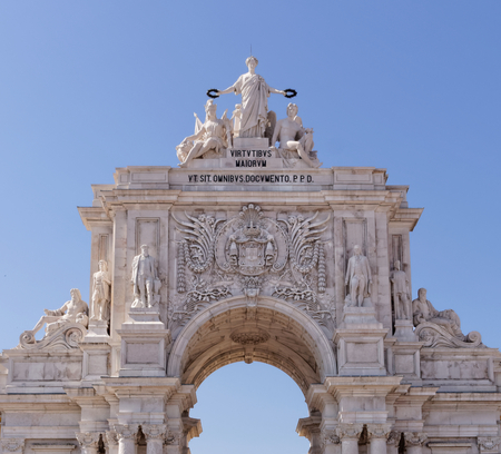 Lisbon, Portugal - May 14: The Rua Augusta Arch in Lisbon on May 14, 2014. Here are the sculptures made of Celestin Anatole Calmels and Victor Bastos. Portugal, Europe.