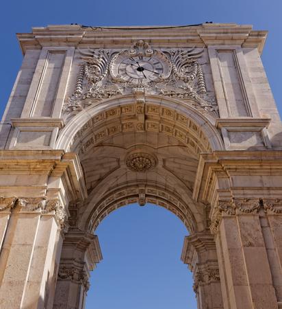 Lisbon, Portugal - May 14: Rua Augusta Arch in Lisbon on May 14, 2014. The reverse side Rua Augusta Arch in Lisbon. Portugal, Europe.