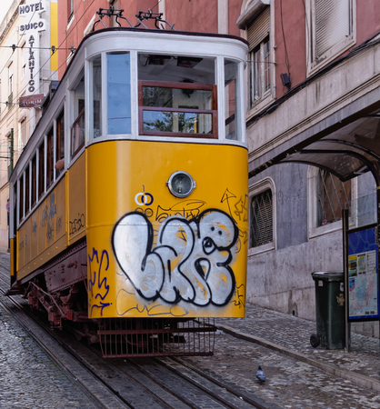 Lisbon, Portugal - May 14: The traditional tram in Lisbon on May 14, 2014. The first tramway in Lisbon entered service on 17 November 1873. Portugal, Europe.