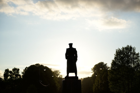 marshal: Black-and-white silhouette of Marshal Zhukov in Victory Park, Saint-Petersburg