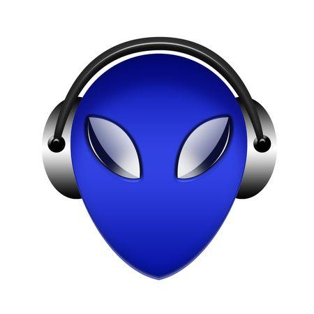 alien in headphone sign