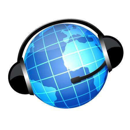 Globo in Kopfh�rer Zeichen Lizenzfreie Bilder