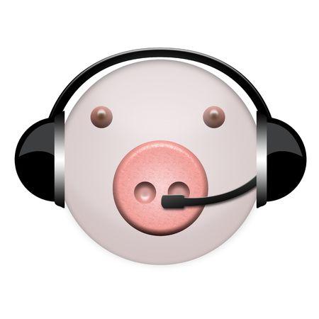pig flu headphone sign Stock Photo