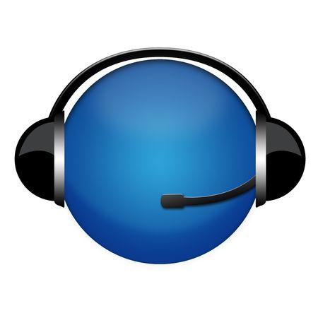 blue globo in headphone sign