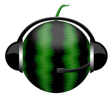 Watermelon in headphones
