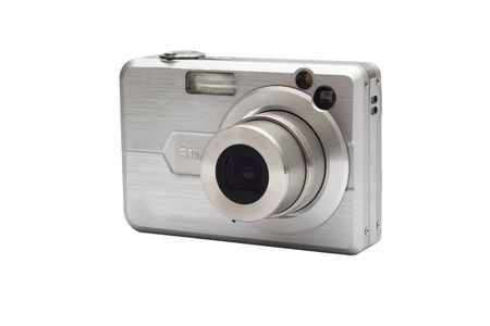 megapixel: Digital compact camera isolated over white