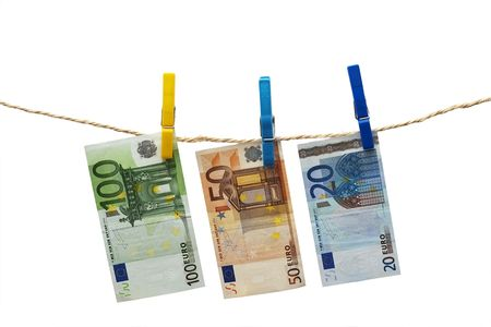 Three banknotes isolated over white photo