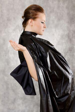 woman  leather posing studio gray background Stock Photo - 6511561