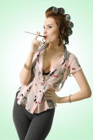 crazy pinup girl cigarette smoke  Stock Photo - 7045213