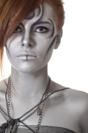 portrait body art girl silver mask Stock Photo - 7045218