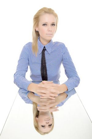 business woman isolated reflected mirror table photo