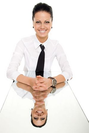 business woman mirror table reflection isolated photo