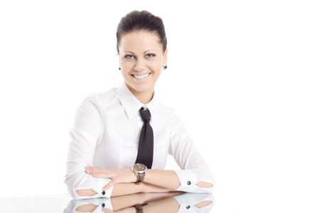 business woman mirror table smile isolated photo