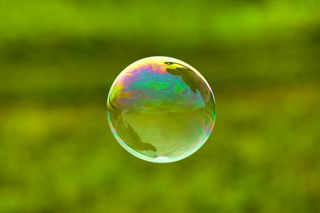 soap bubbles: soap bubble on green background