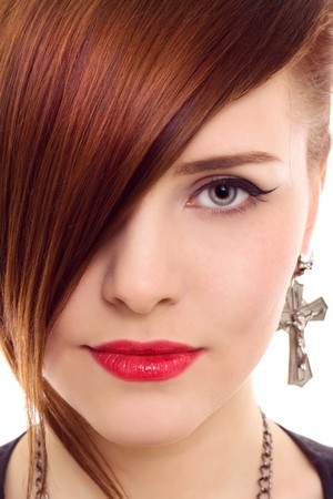 beautiful redhair woman close up style portrait photo