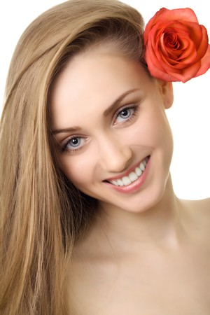 beautiful smile woman with rose isolated Stock Photo - 7893994