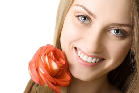 beautiful smile woman with rose isolated Stock Photo - 7893770