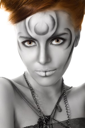 beautiful woman body art closeup portrait photo