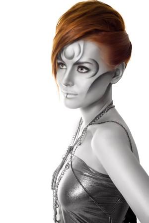 beautiful woman body art portrait isolated photo