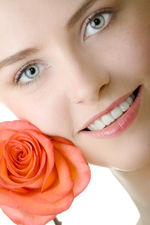 beautiful woman closeup with rose photo