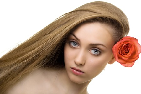 beautiful woman with rose isolated Stock Photo - 7893898