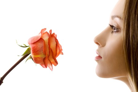 beautiful woman with rose sideview isolated photo