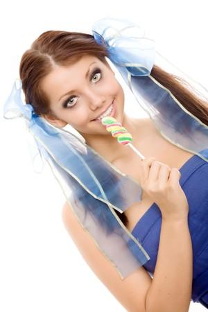 Lollipop girl sweet candy isolated  photo