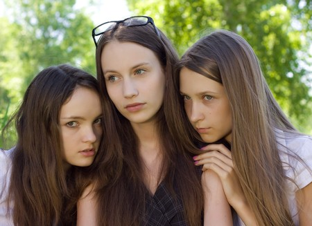 three  despondent student girl outdoor Stock Photo - 7893980