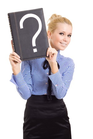answering: woman business problems mark question isolated