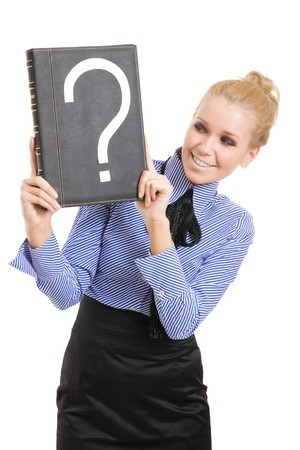 woman business problems mark question isolated photo