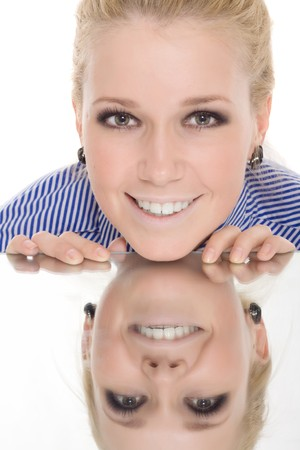 woman reflection mirror smile isolated Stock Photo - 7893918