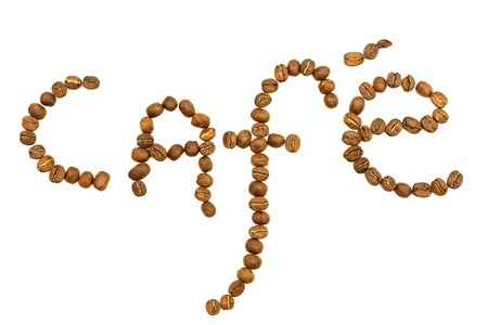 word cafe coffeebeans on white background Stock Photo - 7909719