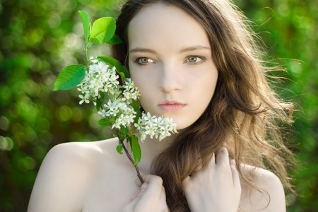 young girl flower sensuality portrait outdoor photo