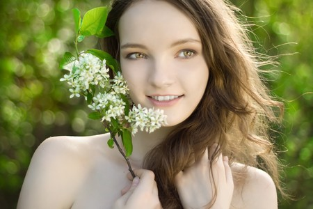 young girl flower smile portrait outdoor photo