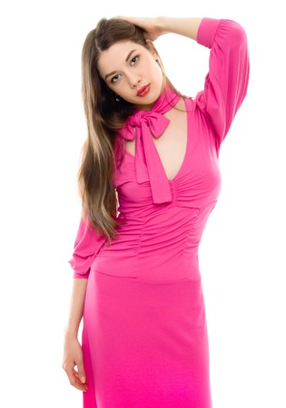 young woman in pink dress isolated  photo