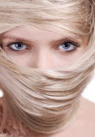 stylish blonde woman close-up hair mask portrait photo