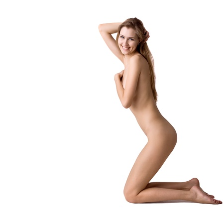 nude young: portrait of healthy naked woman over white