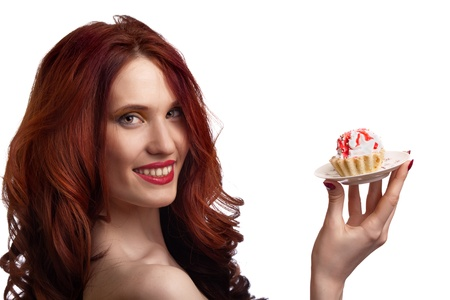 beautiful happy woman with cake on the plate isolated on white background Stock Photo - 8715976