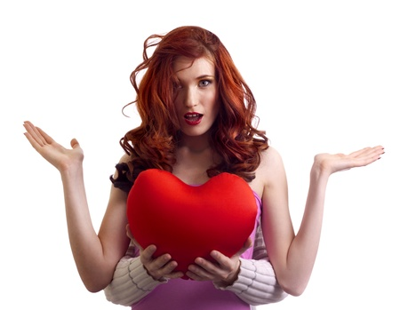 boyfriend hands present surprice valentines heart to woman Stock Photo - 8725932