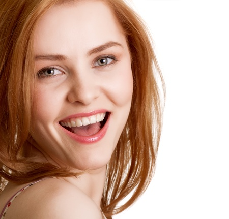 women smile: attractive smiling woman portrait on white background