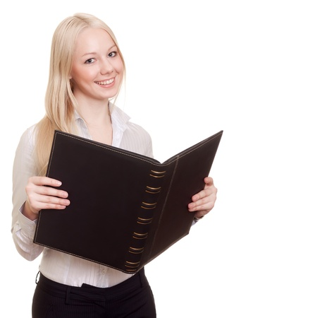 Blond happy businesswoman with black folder isolated on white  Stock Photo - 8855549
