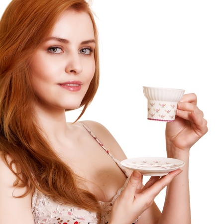 Beautiful Woman With Coffee.Isolated on white.Copy-space photo